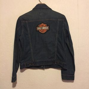 Retro Levi's Jacket ~ Harley Davidson Patch ~Jr L~